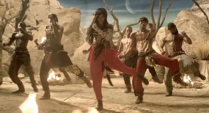Screen shot 2012 04 30 at 11.04.36 AM 690x374 Rihanna Gets Tribal Rave Fierce For New Where Have You Been Video